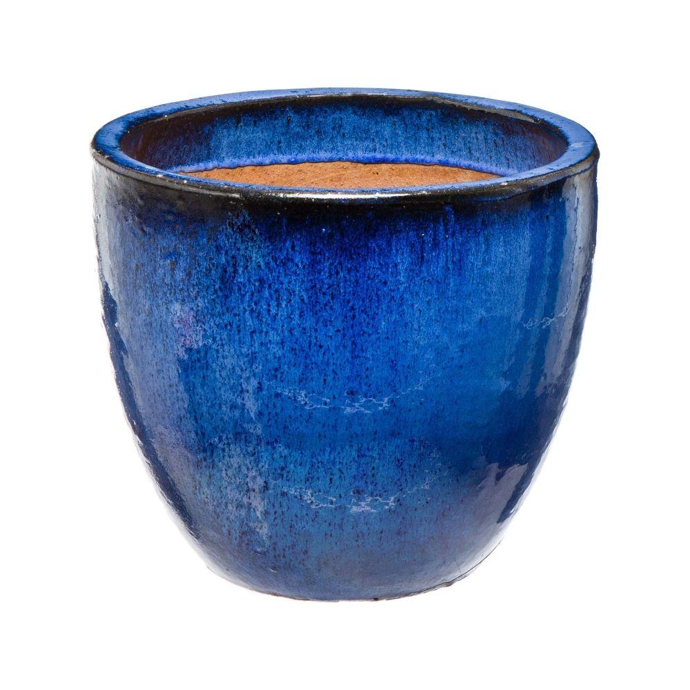 Pot Praga En Terre Cuite Emaillee Bleu O 56 X H 48 Cm Pour La