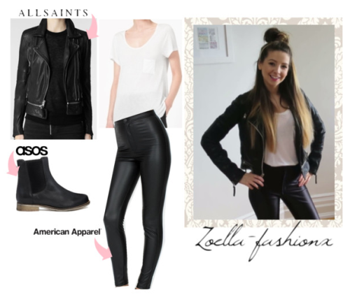 Zoella Vlog! T-Shirt with pocket ~ COS Leather Jacket ~ All Saints Disco Pants ~ American ...