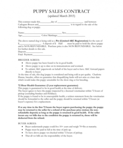 Puppy Deposit Contract Template Contract Template Contract Templates
