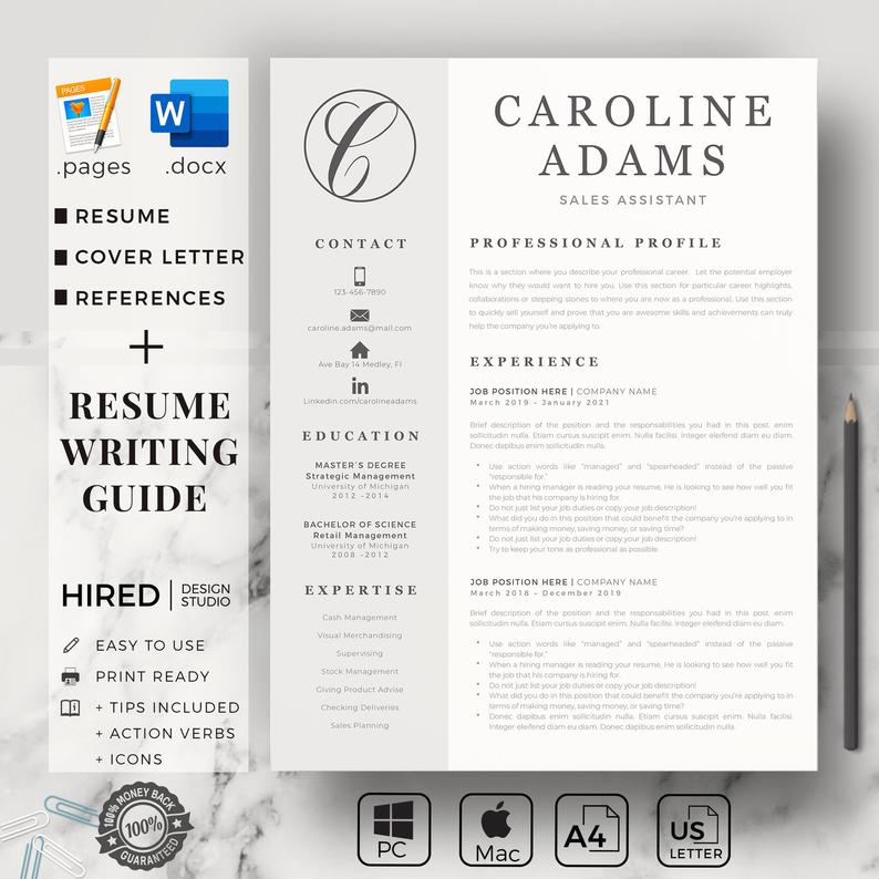 A4 Modern Resume Template NEGIN /& Cover Letter 4 Pages Ms Word Instant Download Professional CV | English User Guide French