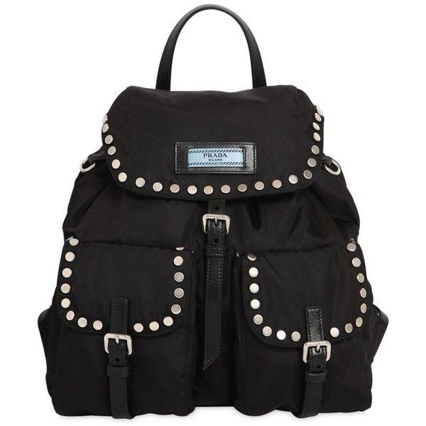 95b336bc9cbe Prada Women Etiquette Nylon Backpack W  Studs (85.730 RUB) ❤ liked on  Polyvore