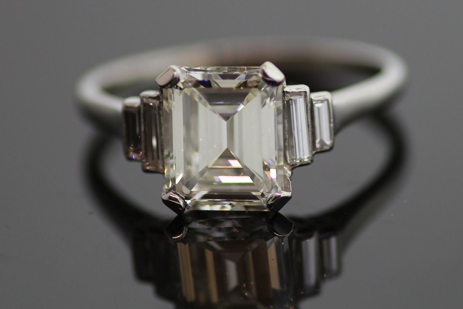 Vintage Platinum Emerald Cut Diamond Engagement Ring with Baguettes     Emerald Cut Engagement Ring Vintage