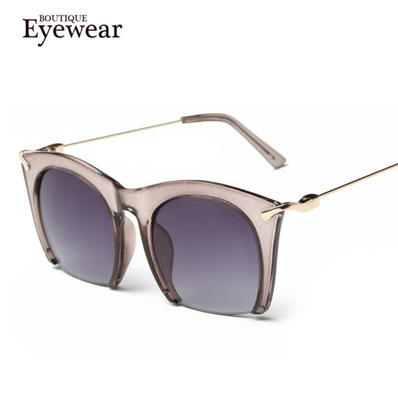 BOUTIQUE de Moda de Las Mujeres Clásicas Gafas de Sol Semi-Sin Montura Shades UV400 Diseñador de la Marca gafas de Sol de Alta Calidad