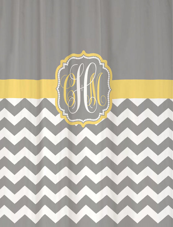 Shower Curtain Cool Gray Half Chevron With Butter Yellow Accents 69x70 Custom Monogram