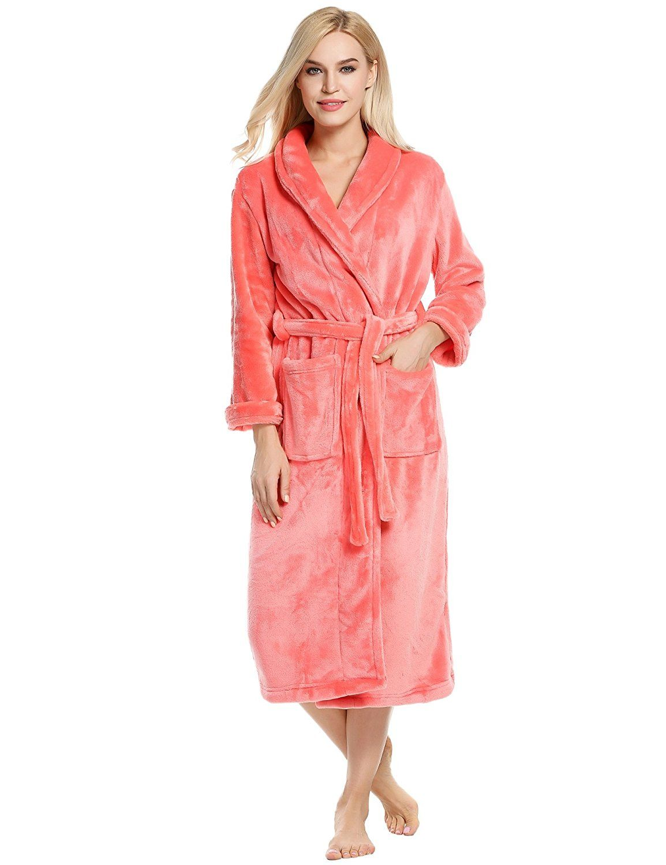 1a7c11ff86 Ekouaer Robes Unisex Kimono Bathrobe Super Plush Microfiber Fleece  Loungewear S-XL at Amazon Women s Clothing store