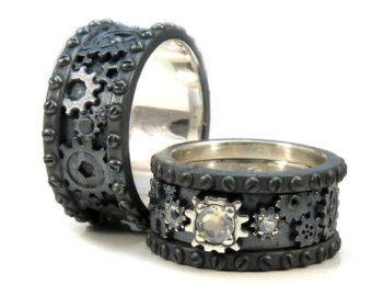 Steampunk Wedding Ring Set Corte De Rosa Por Smetalsmithing