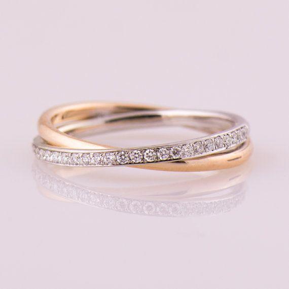Two Tone Diamond Ring Yellow White Gold Wedding Ring 14k 18k Gold Wedding Half Eternity Ring Eternity Ring Infinity Diamond Ring White Gold Diamond Band 18k Gold Wedding Bands Infinity