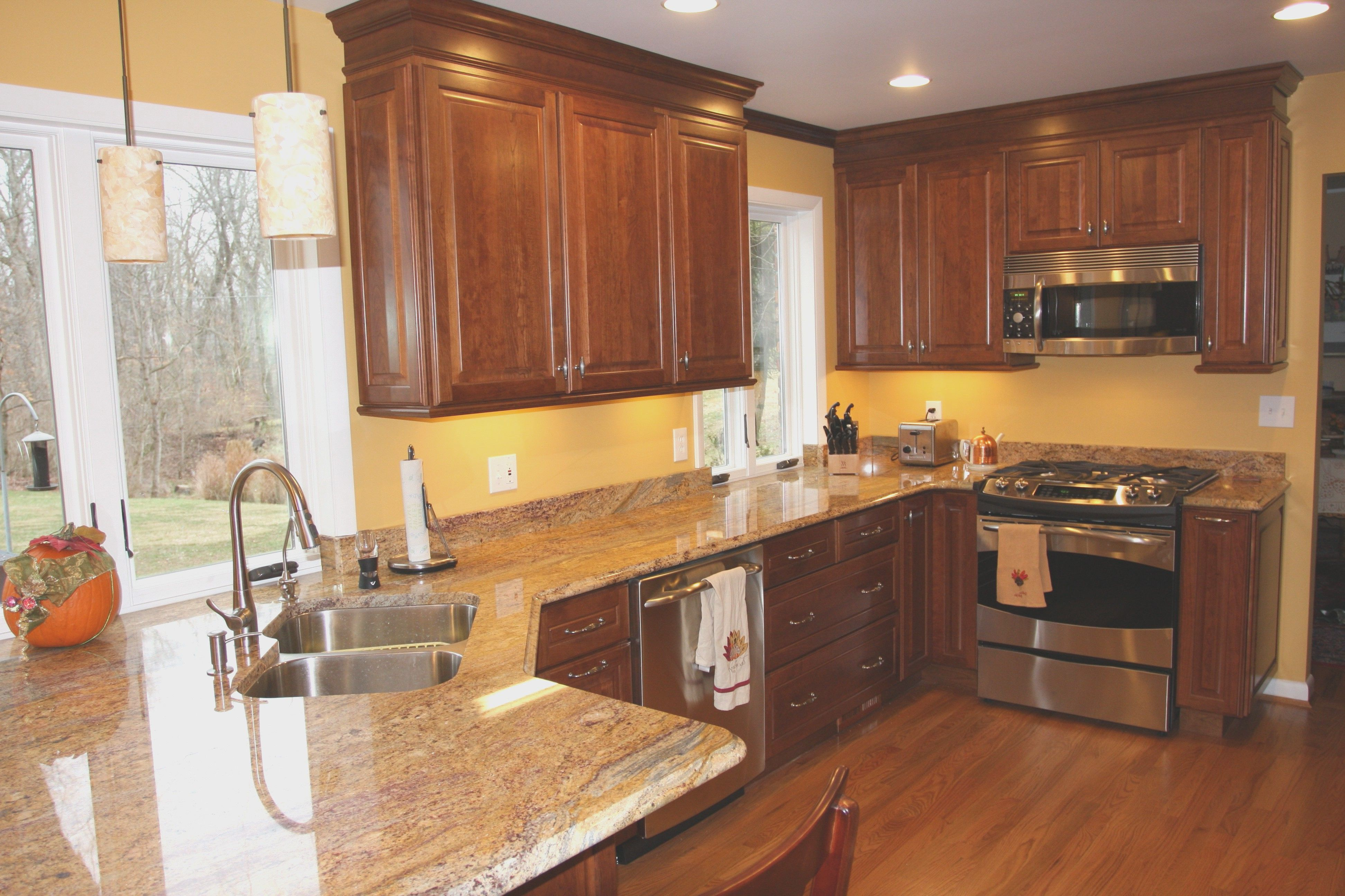 Granite Countertop Fantastic Cherry Kitchen Cabinets With Countertops Finish Peel And Stick Glass Ba Kitchen Colors Cherry Cabinets Kitchen Kitchen Wall Colors
