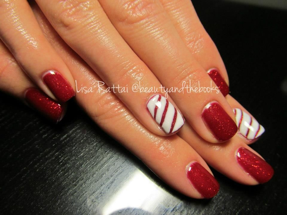 Red Shellac With An Accent Nail Done In A Candy Cane Adorable Christmas Nails Nail Artist Lisa Rattai T Red Shellac Nails Candy Cane Nails Christmas Nails