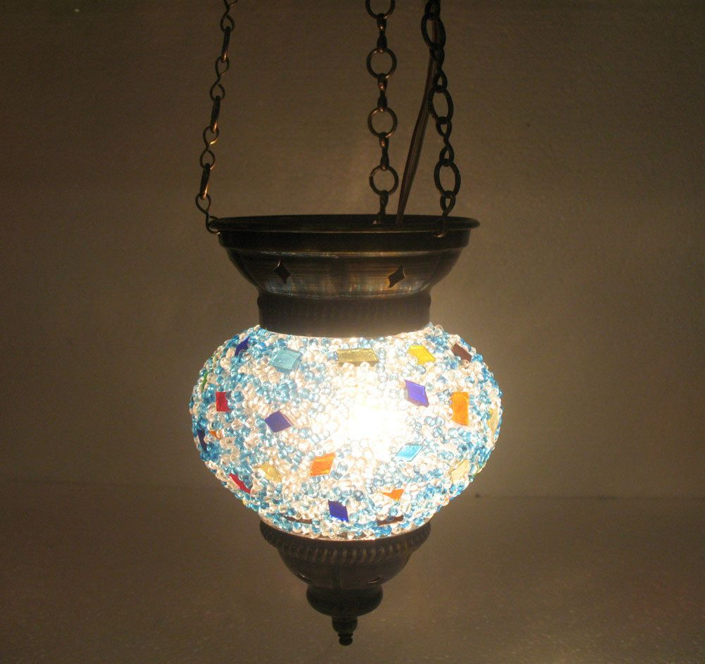 Blue mosaic hanging lamp glass chandelier light lampen handmade candle art 114 #Handmade #Moroccan