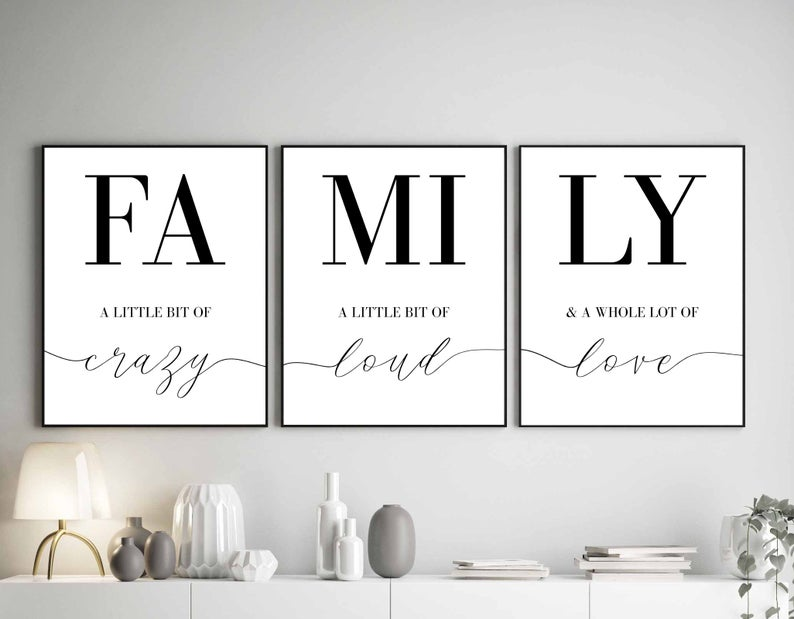 Family Sign Family A Little Bit Of Crazy Print Set Of 3 Prints Family Quotes Home Decor Signs Living Room Wall Art Bedroom Wall Decor 155 Family Signs Wall Decor Bedroom Home Quotes And Sayings