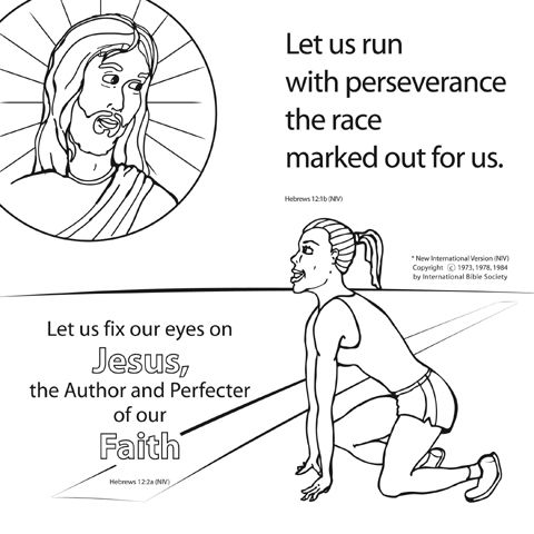 perseverance coloring pages | Let Us Run the Race Bible Coloring Card by Memory Cross ...