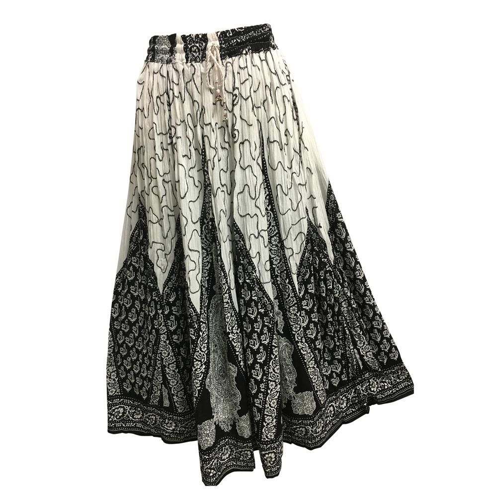 d9b0c1f08 Indian Ethnic Print Embroidered Crinkle Broomstick Long Skirt No108 ...