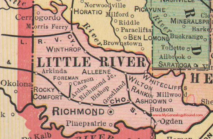 Little River County Arkansas 1898 Map Richmond Ashdown Winthrop