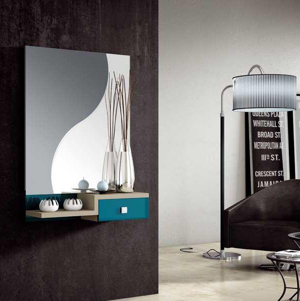 Recibidor de dise o hogladih con espejo moderno ideal para for Espejos bonitos para recibidor