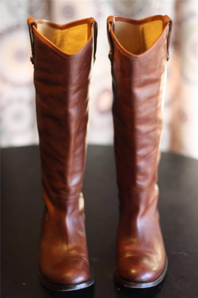 Frye Melissa Button Tall Riding Boots Cognac Brown Leather Extended Calf 6.5
