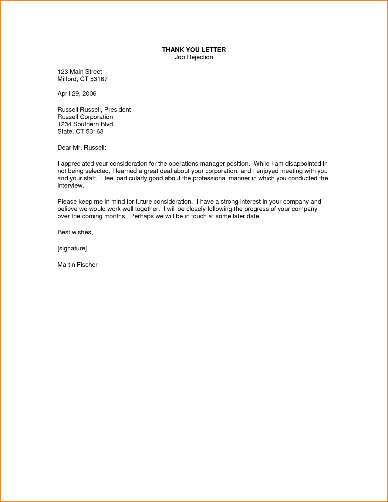 You Letter For Job Offer Rejection Letters Thank After Email Cover