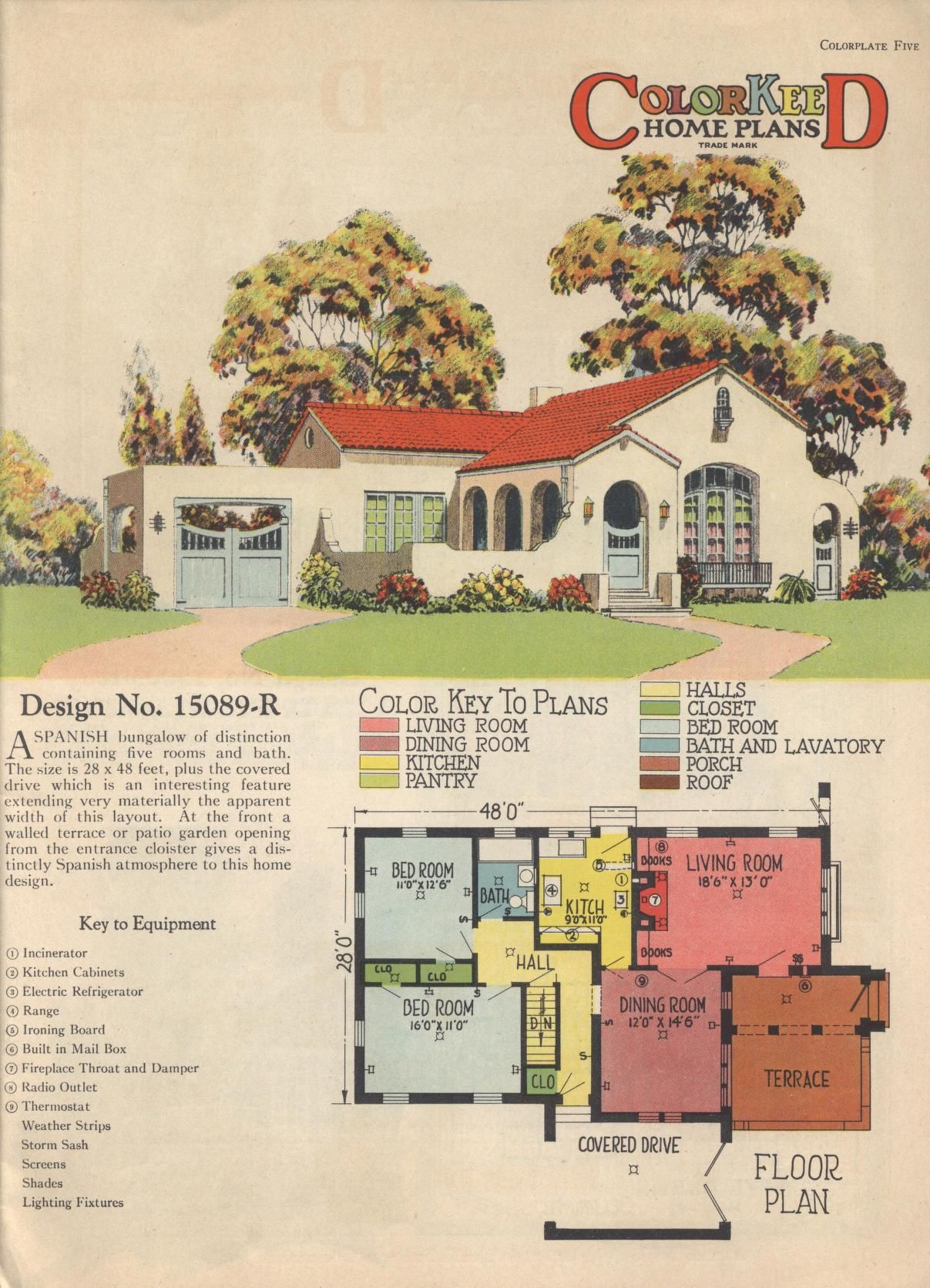 Colorkeed home plans radford 1920s vintage house plans for Spanish colonial floor plans