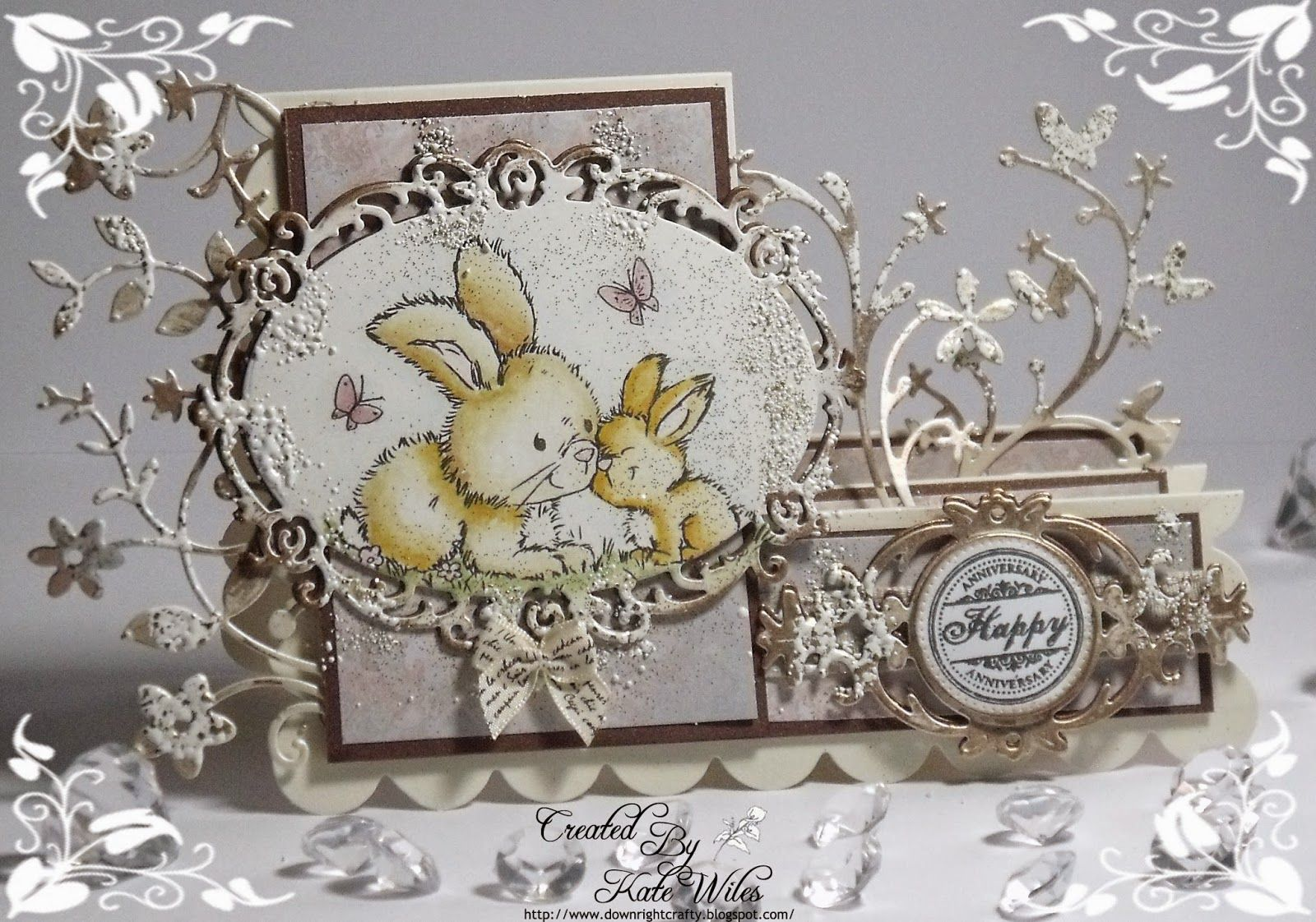 handmade Anniversary card stepper style using Wild Rose