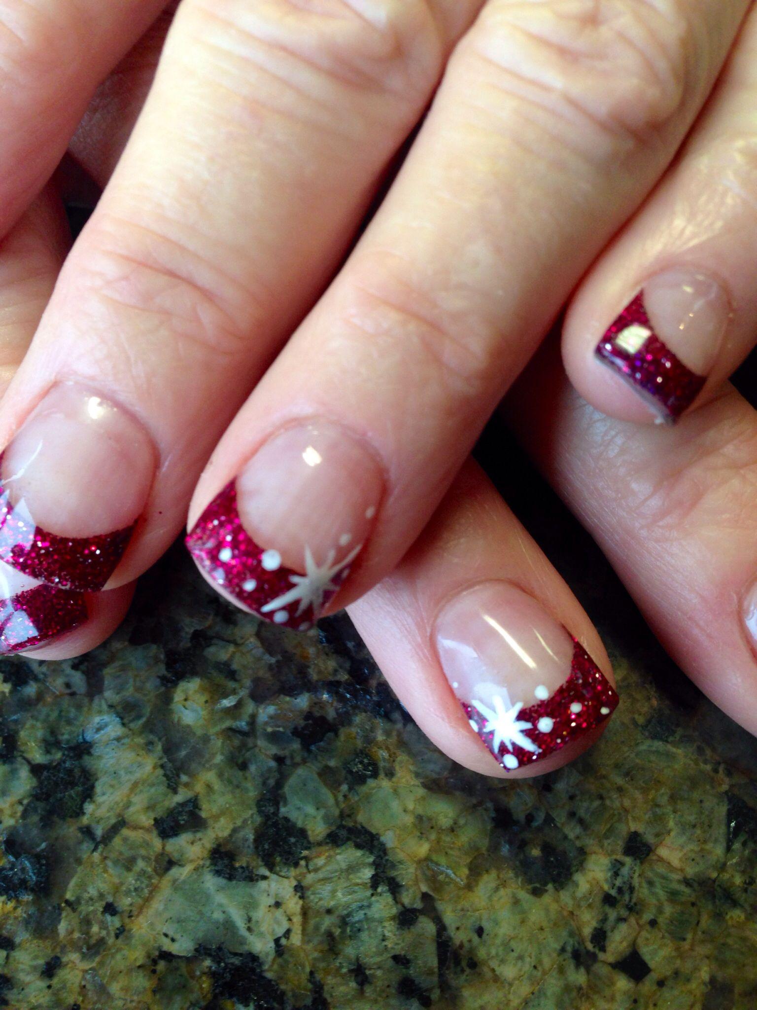 White Christmas star nail art   Nails   Pinterest