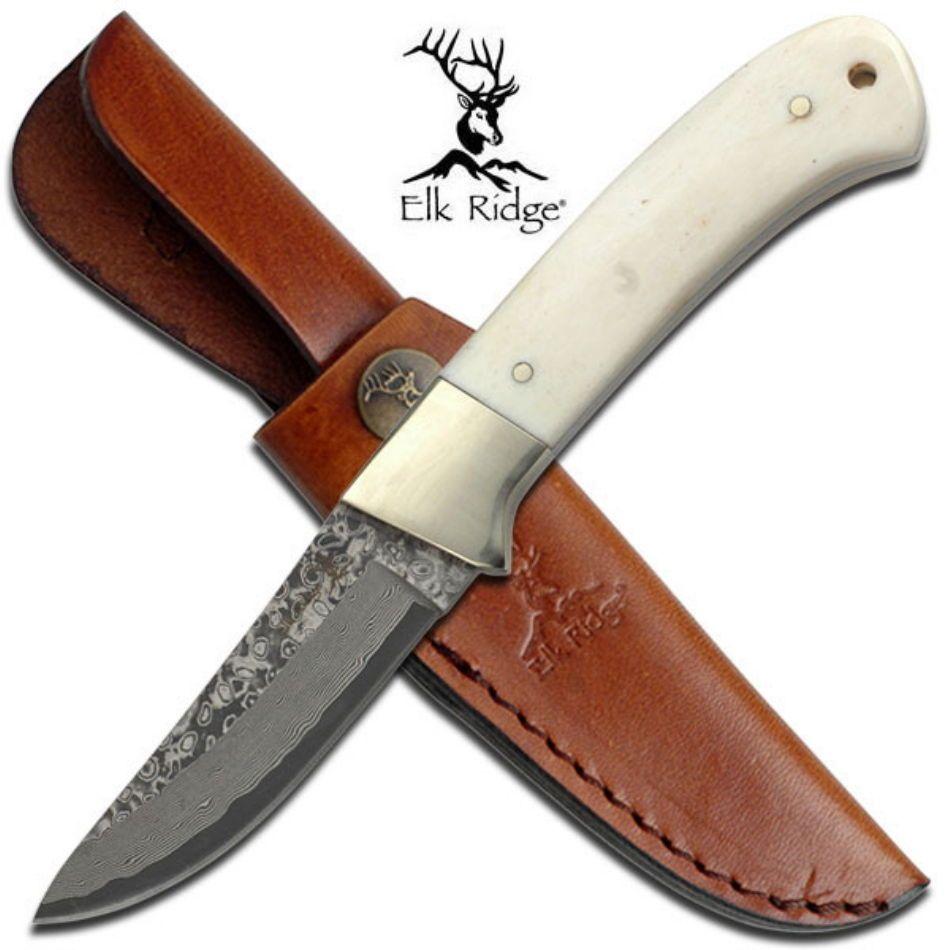Elk Ridge Knives Damascus Steel Hunting Knife Bovine Bone ER