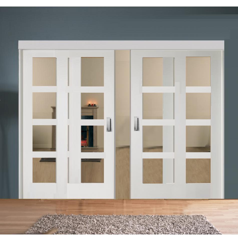 Sliding Room Divider With White Shaker Clear Glazed Doors
