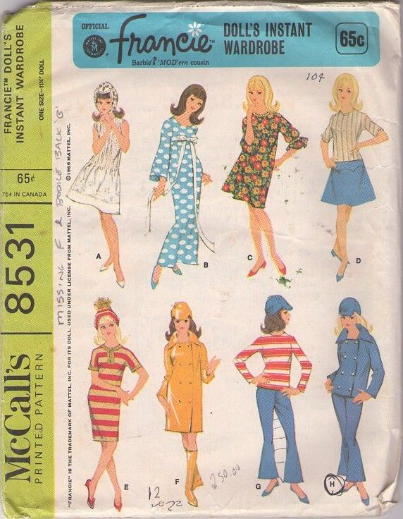 McCall\'s 8531 Vintage 60\'s Sewing Pattern SUPER COOL 11.5\