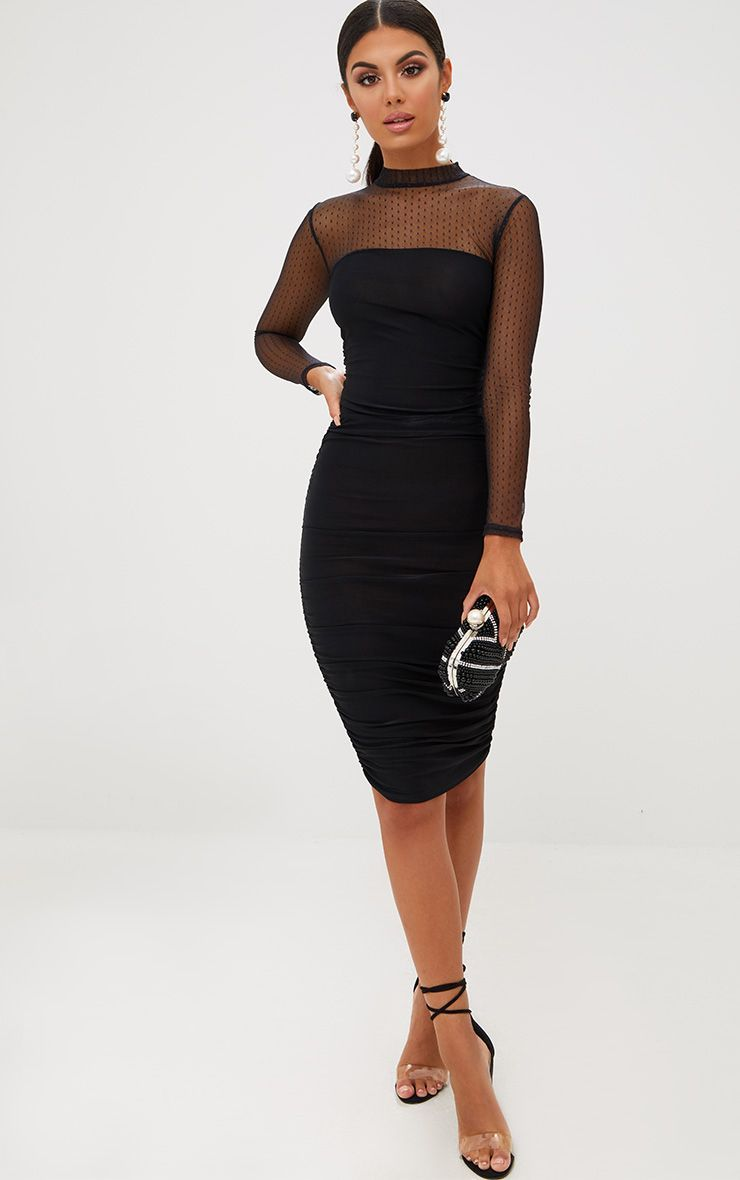 d7ac135b0f Black Dobby Mesh Midi Dress. Dresses
