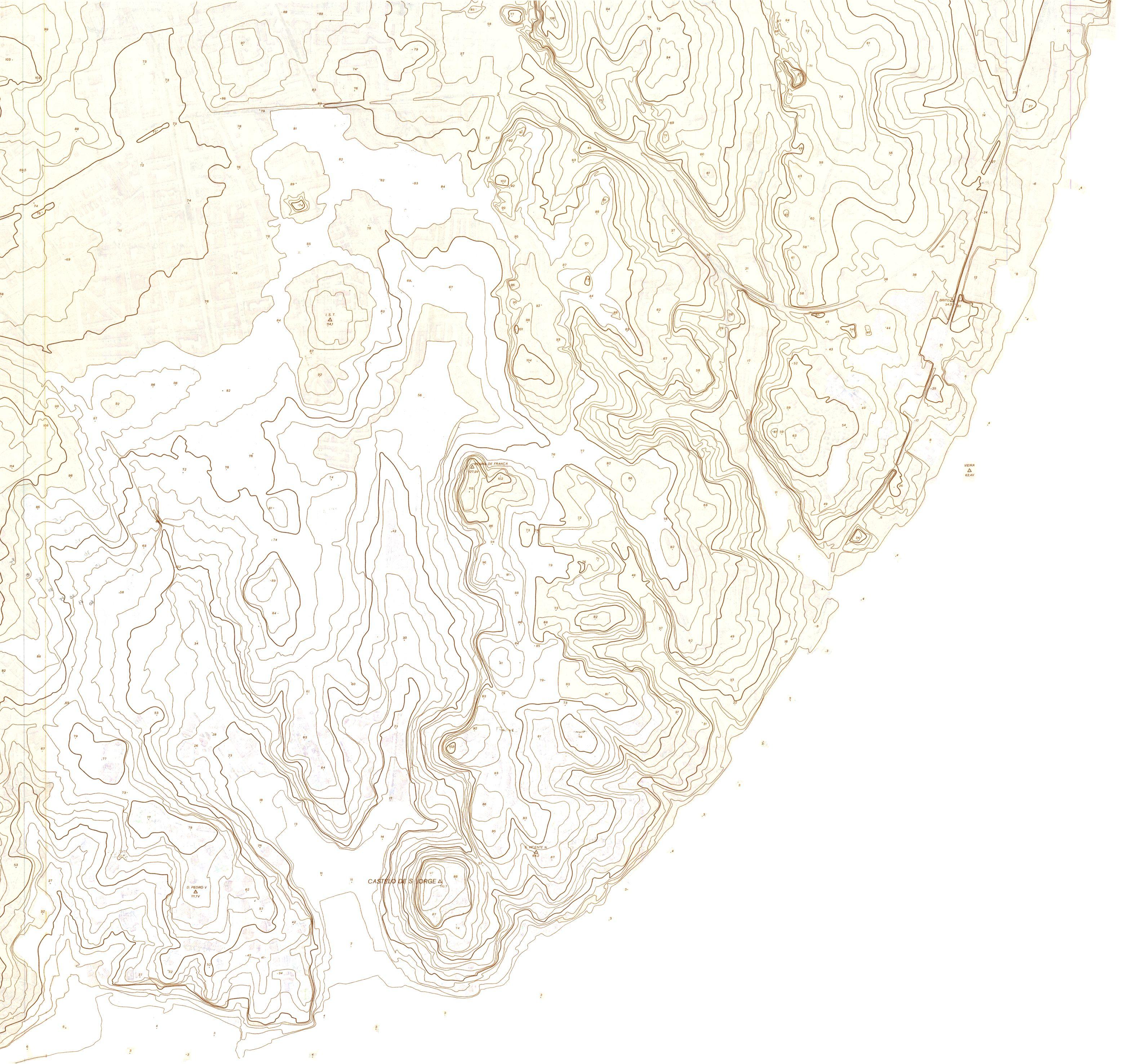 curvas de nível do centro histórico de Lisboa