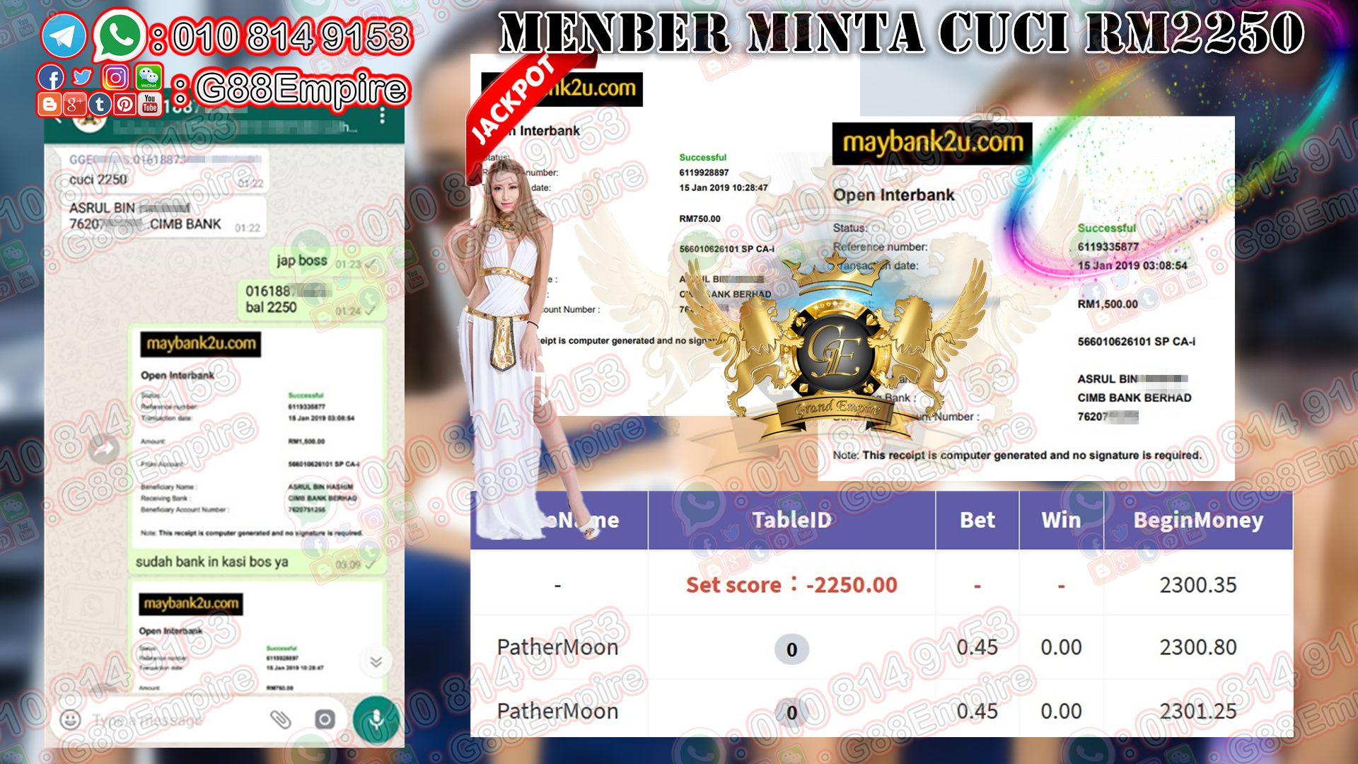 Grand Empire Whatsapp *918kiss*Random Jackpot Member dpt Random Jackpot bernilai RM2250 Wechat : G88empire…