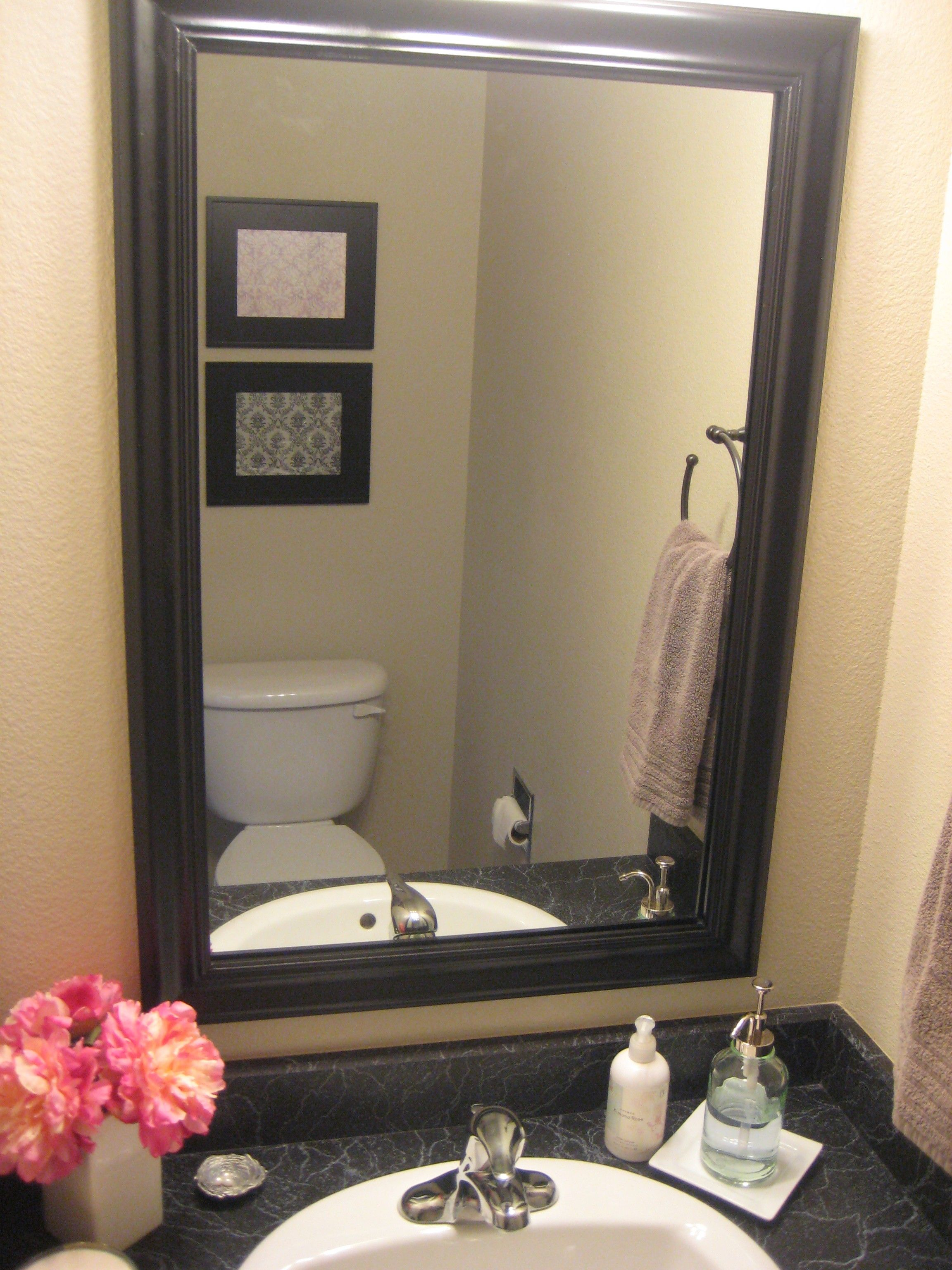 Bathroom Interior Height Wall Mirror With Black Wooden Frame Attached Light Yellow Color Framed Mirrors For Bathrooms