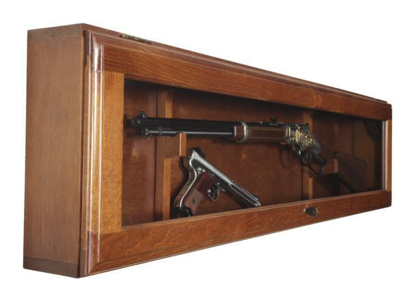 Gun Collector Display Cabinet Wall Mount Rack Wood Case