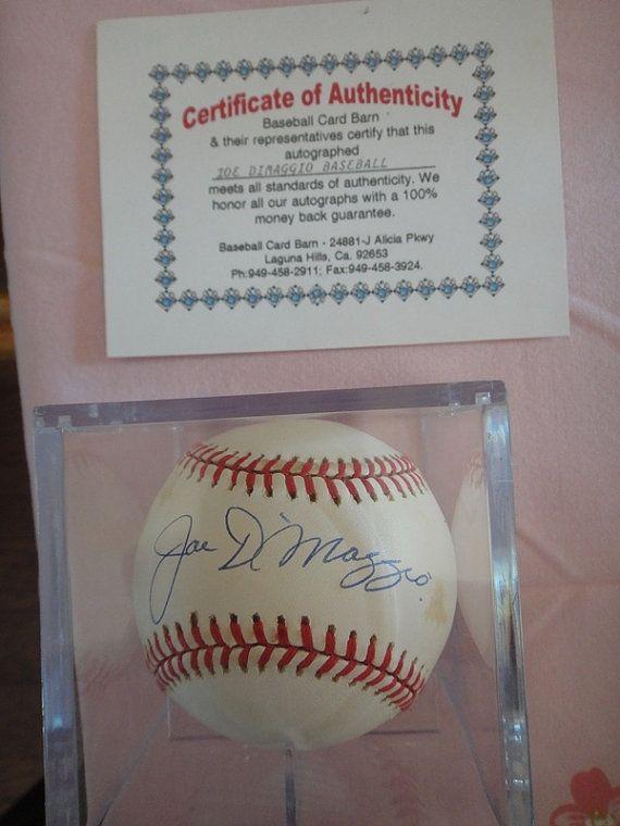 Joe Dimaggio Autographed Baseball Coa Official By Milliesattique Autographed Baseballs Joe Dimaggio Autograph