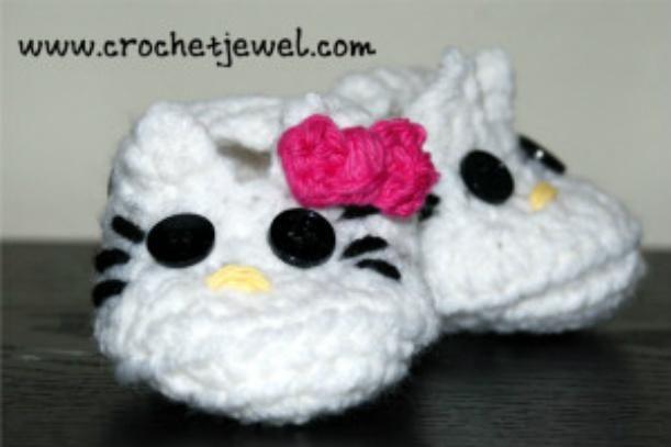 Crochet Hello Kitty Booties With Pattern Hello Kitty Baby Hello