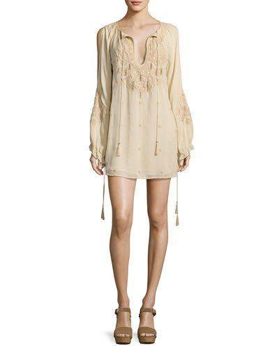 9e72dfa859 HAUTE HIPPIE Penny Embroidered Silk Mini Dress