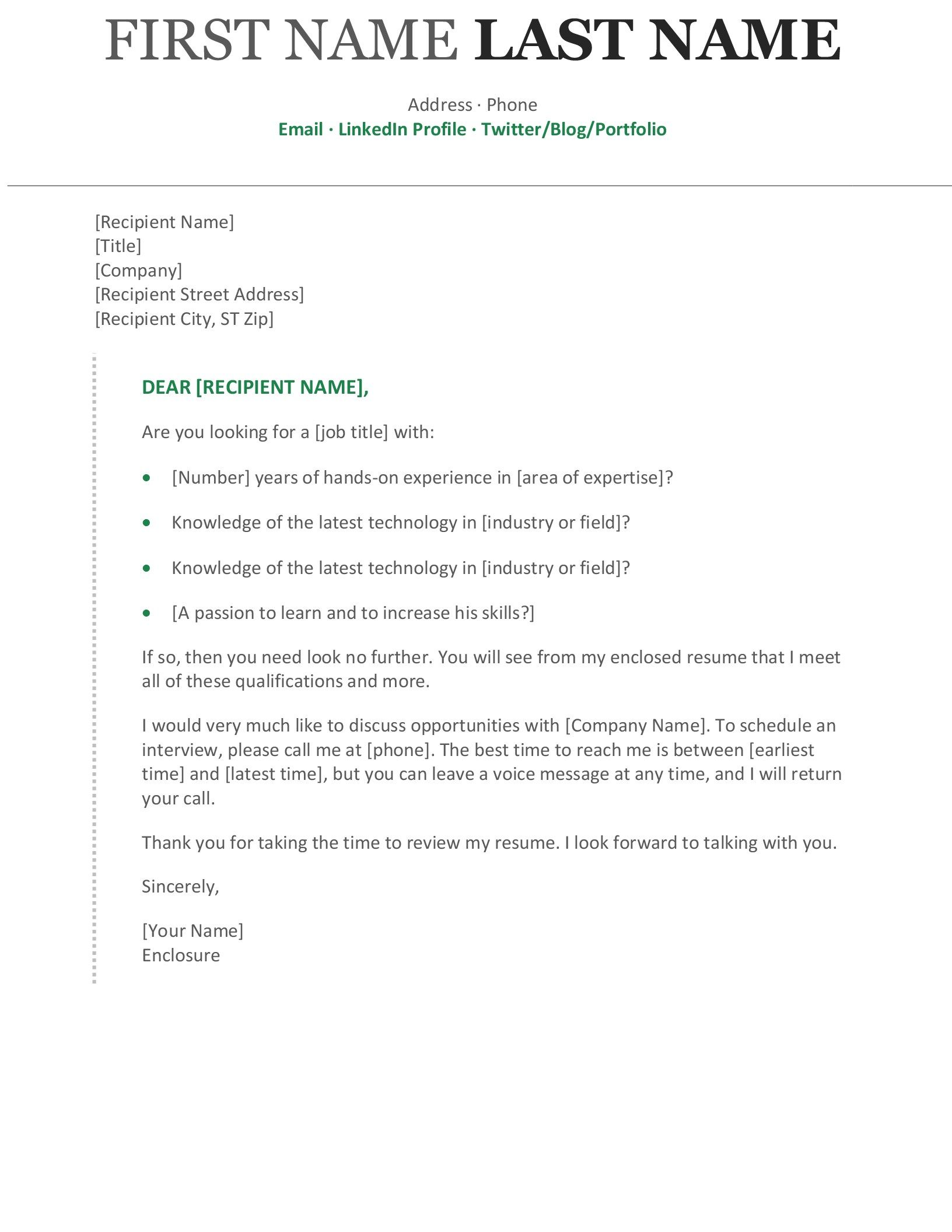 Modern Chronological Cover Letter Cover Letter For Resume Cover Letter Template Resume Cover Letter Examples Combined resume and cover letter
