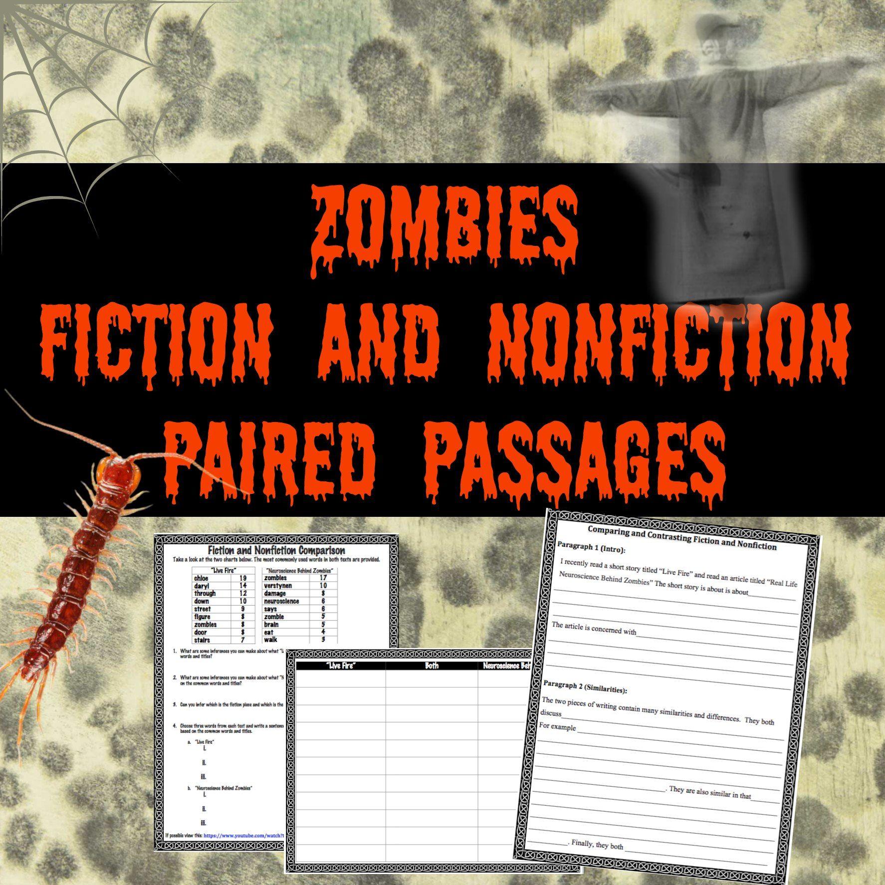 Zombies Fiction Vs Nonfiction Paired Passages Paired Passages Fiction Vs Nonfiction Literature Lessons [ 1774 x 1774 Pixel ]