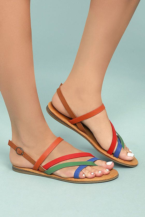 dc530ae8b Complete your vacay or festival look with Kalene Orange Multi Flat Sandals!  Orange