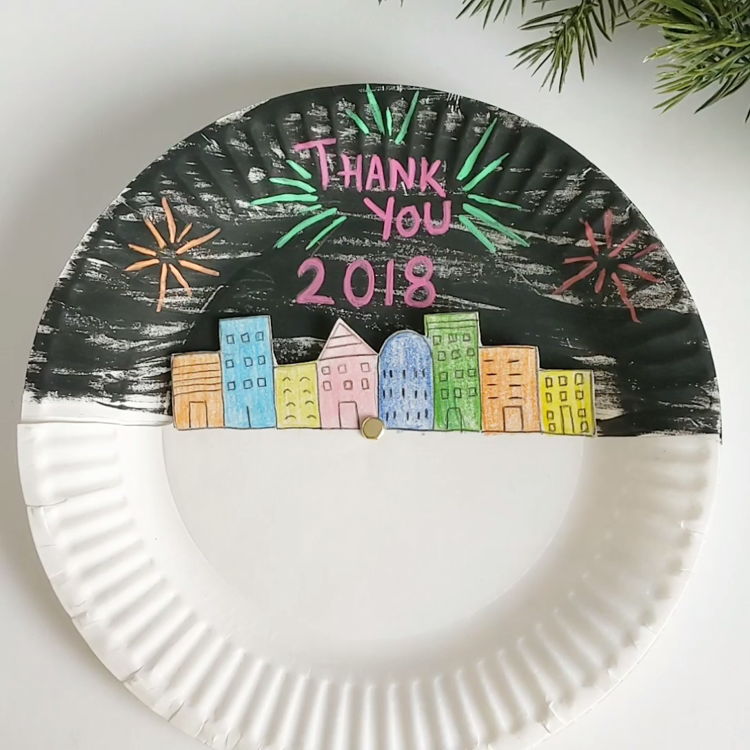 New Year's Eve Paper Plate Craft for Kids #craftsforkids