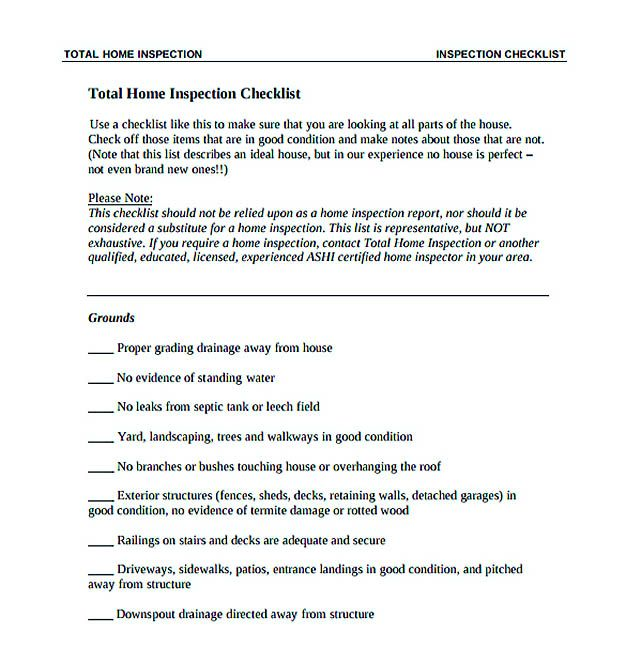 Total Home Inspection Checklist Template Download  Checklist