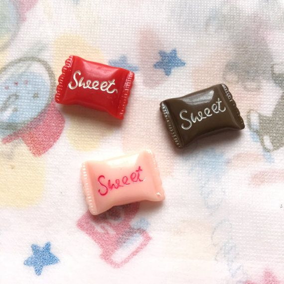 Fake red,chocolate,pink sweet candy resin cabochon for decoden | Kawaii Sweet deco 3pieces per set