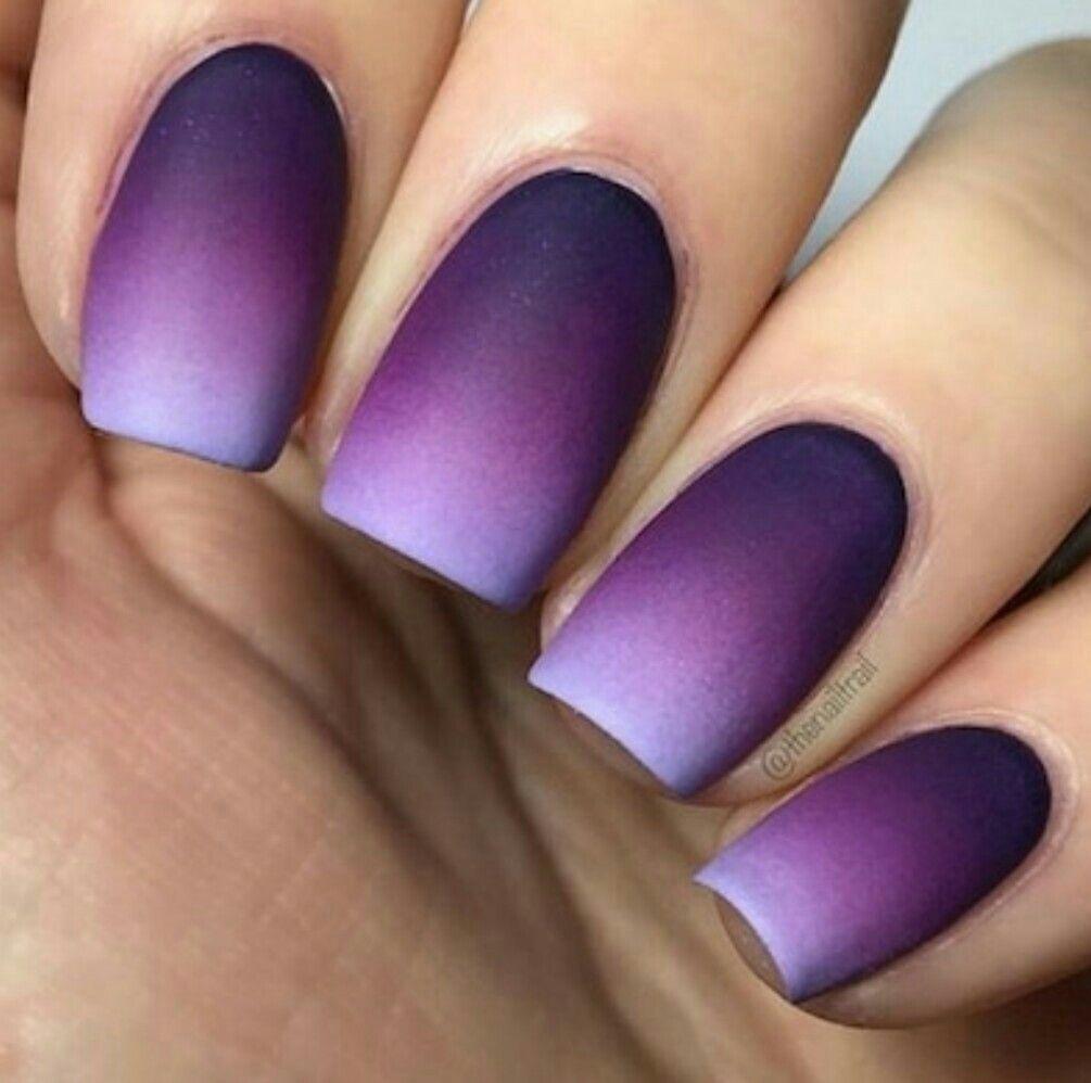 Perfect Purple Matt Ombre Nail Art Ombre Ombre Nail Art Designs Purple Nail Art