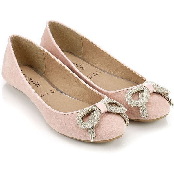 Womens Girls Pink Diamante Flat Faux Suede Ballet Ballerina Shoes