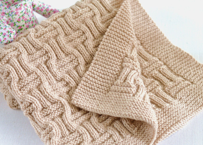 Knitting Pattern Baby Blanket Reversible Basketweave Blanket ...