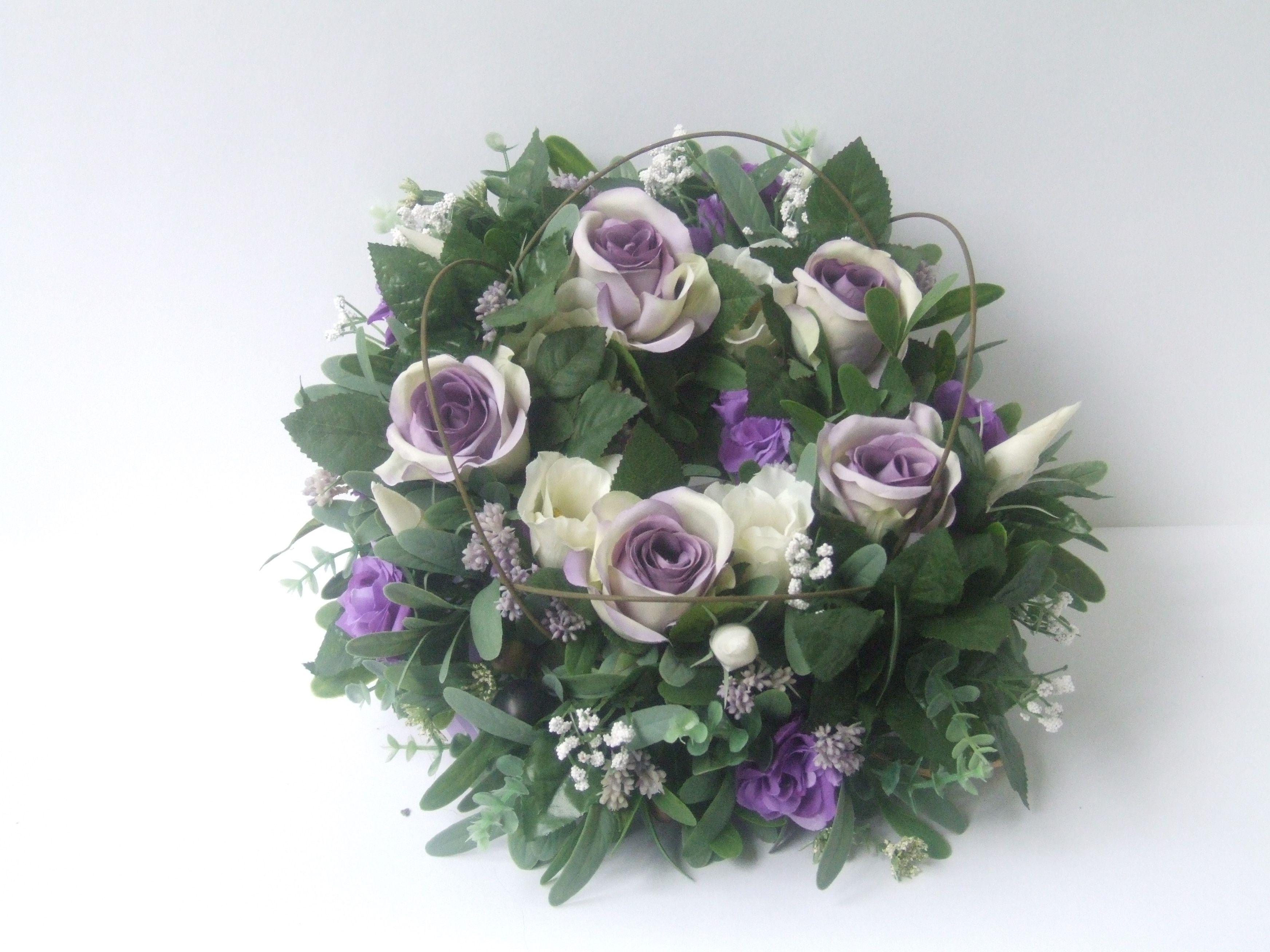 Purple and cream roses