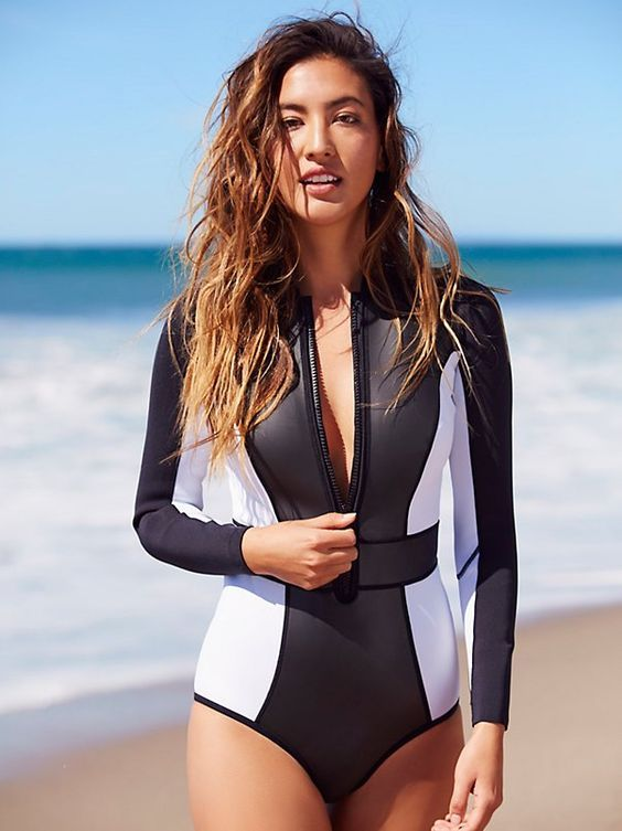b2c5d0ac7f color block neoprene long sleeve one piece