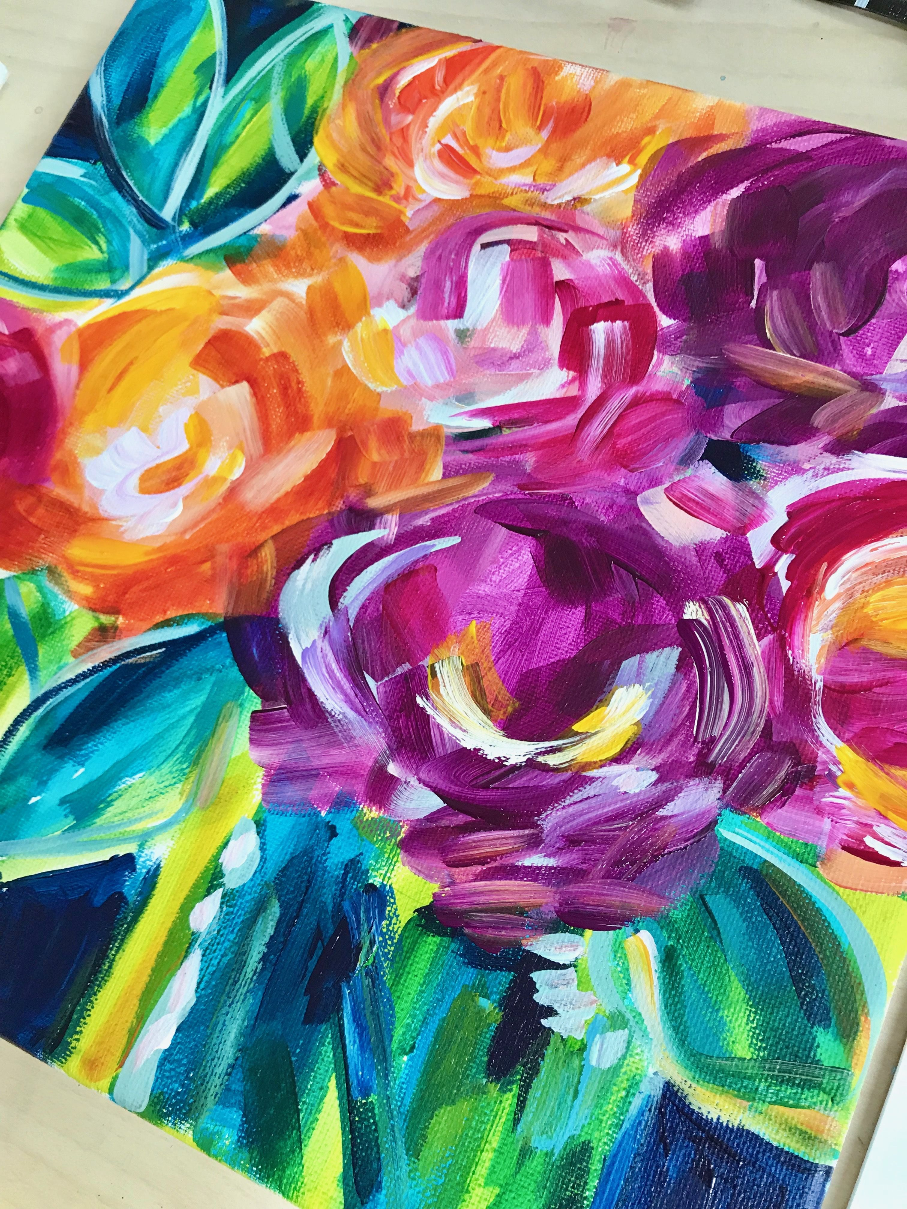 Learn How To Paint Loose Expressive Abstract Flowers In This New