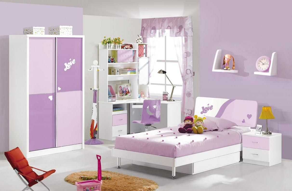 Kid bedroom purple and soft purple bedroom furniture set for Kids white bedroom furniture