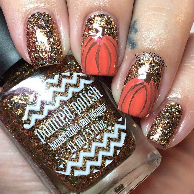 Fall Glitter Nail Designs: Cute Copper Glitter Pumpkin Nail Art For Fall