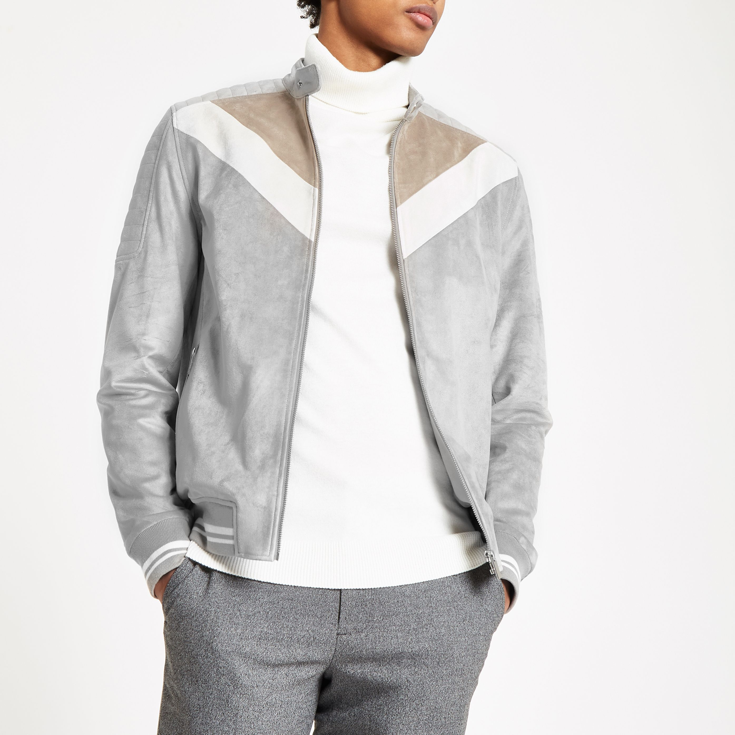 d22c3b967 Grey suede chevron colour block racer jacket in 2019 | Products ...